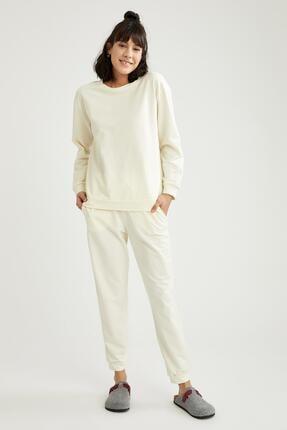 Defacto Kadın Ekru Relax Fit Sweatshirt 1