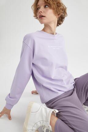 Defacto Kadın Lila Yazı Baskılı Pamuklu Relax Fit Sweatshirt 0