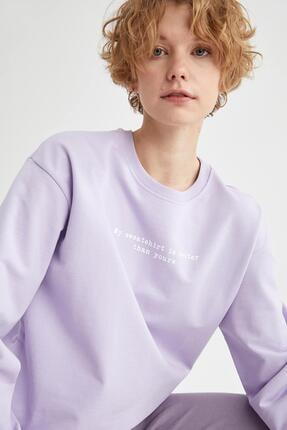 Defacto Kadın Lila Yazı Baskılı Pamuklu Relax Fit Sweatshirt 2