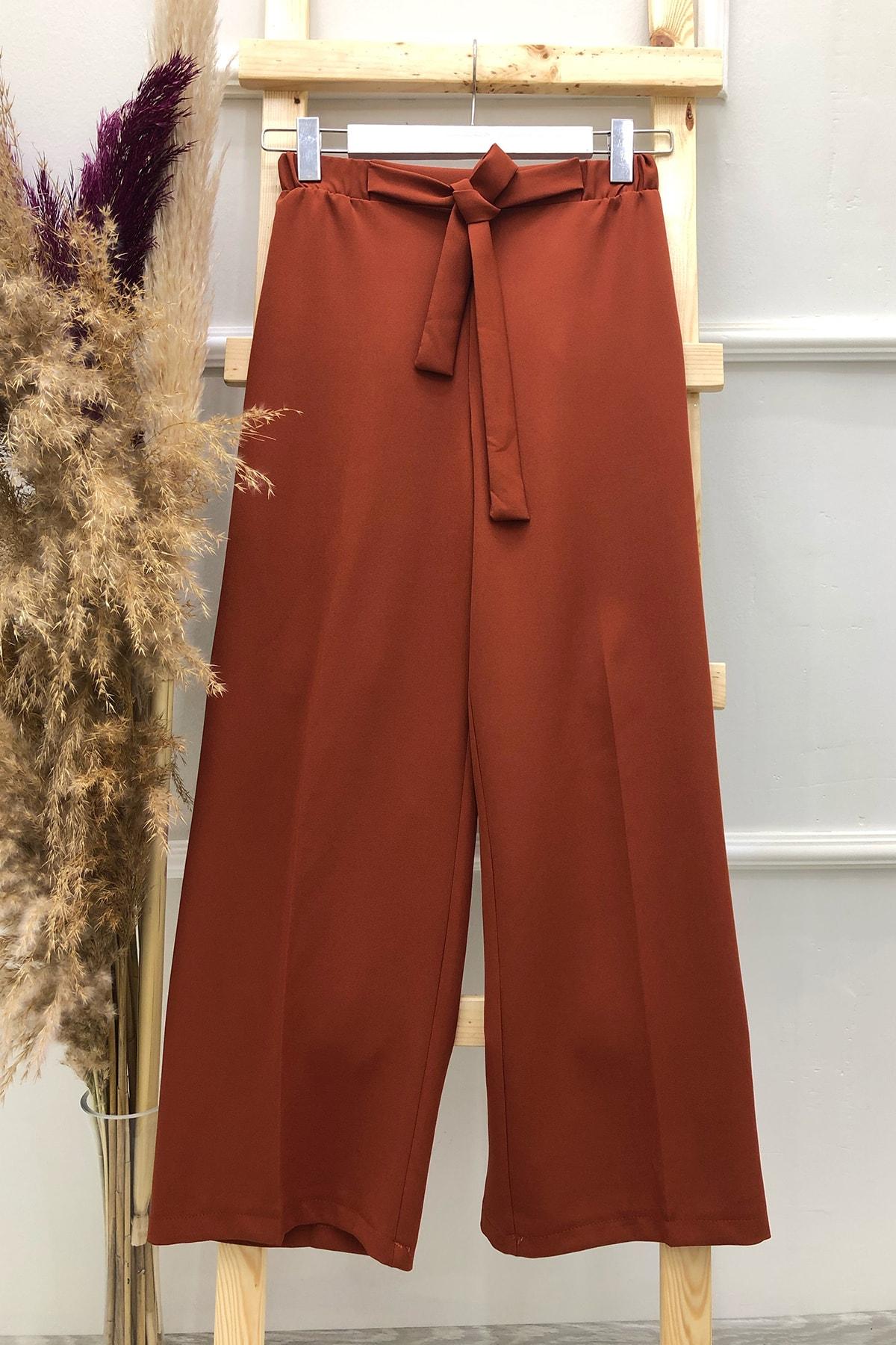 Kadın Kiremit Kuşaklı Bol Paça Pantolon