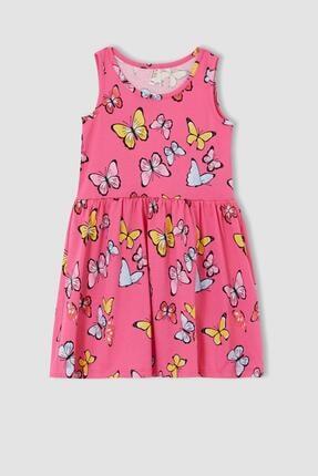 Defacto Kız Çocuk Kelebek Desenli Kolsuz Elbise 0