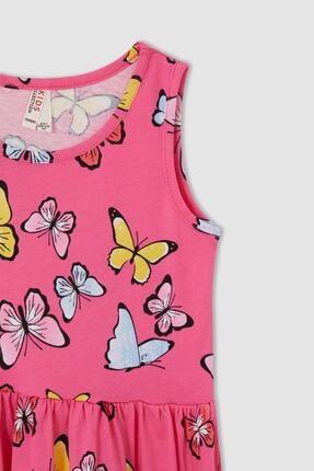 Defacto Kız Çocuk Kelebek Desenli Kolsuz Elbise 1