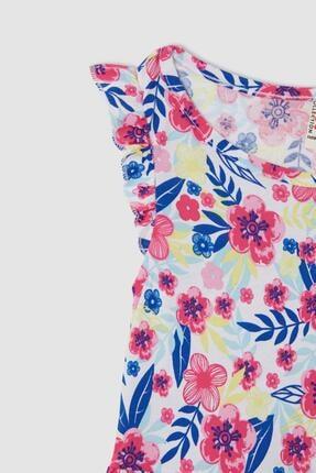 Defacto Kız Çocuk Çiçek Desenli Fırfır Detaylı Elbise 1
