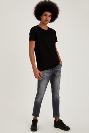 Defacto Slim Fit Bisiklet Yaka Basic Siyah Tişört 1