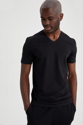 Defacto Slim Fit V Yaka Basic Siyah Tişört 0