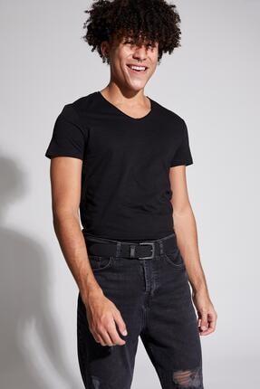 Defacto Slim Fit V Yaka Basic Kısa Kollu Siyah Tişört 2