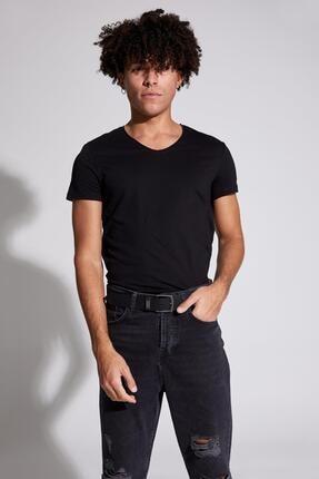 Defacto Slim Fit V Yaka Basic Kısa Kollu Siyah Tişört 3