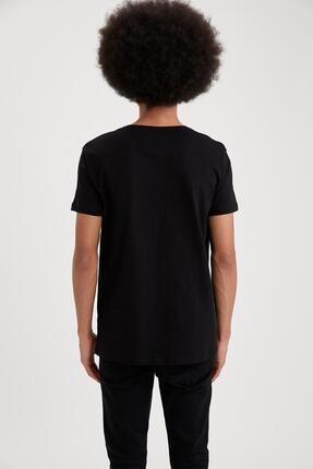 Defacto Slim Fit V Yaka Basic Kısa Kollu Siyah Tişört 4