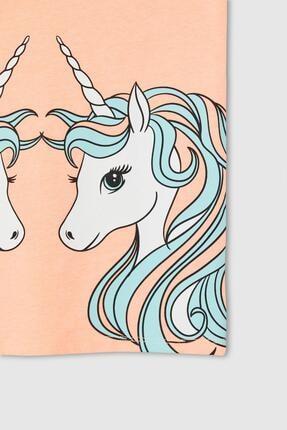 Defacto Kız Çocuk Unicorn Baskılı Kısa Kollu Tişört 3
