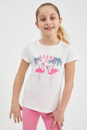 Defacto Kız Çocuk Flamingo Baskılı Kısa Kollu Tişört 2