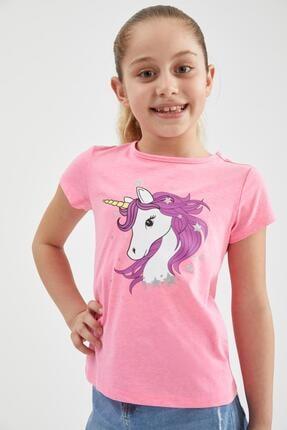 Defacto Kız Çocuk Unicorn Baskılı Kısa Kollu Tişört 0