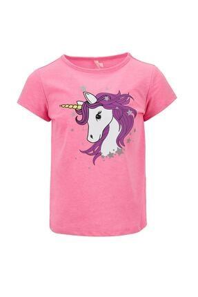 Defacto Kız Çocuk Unicorn Baskılı Kısa Kollu Tişört 4