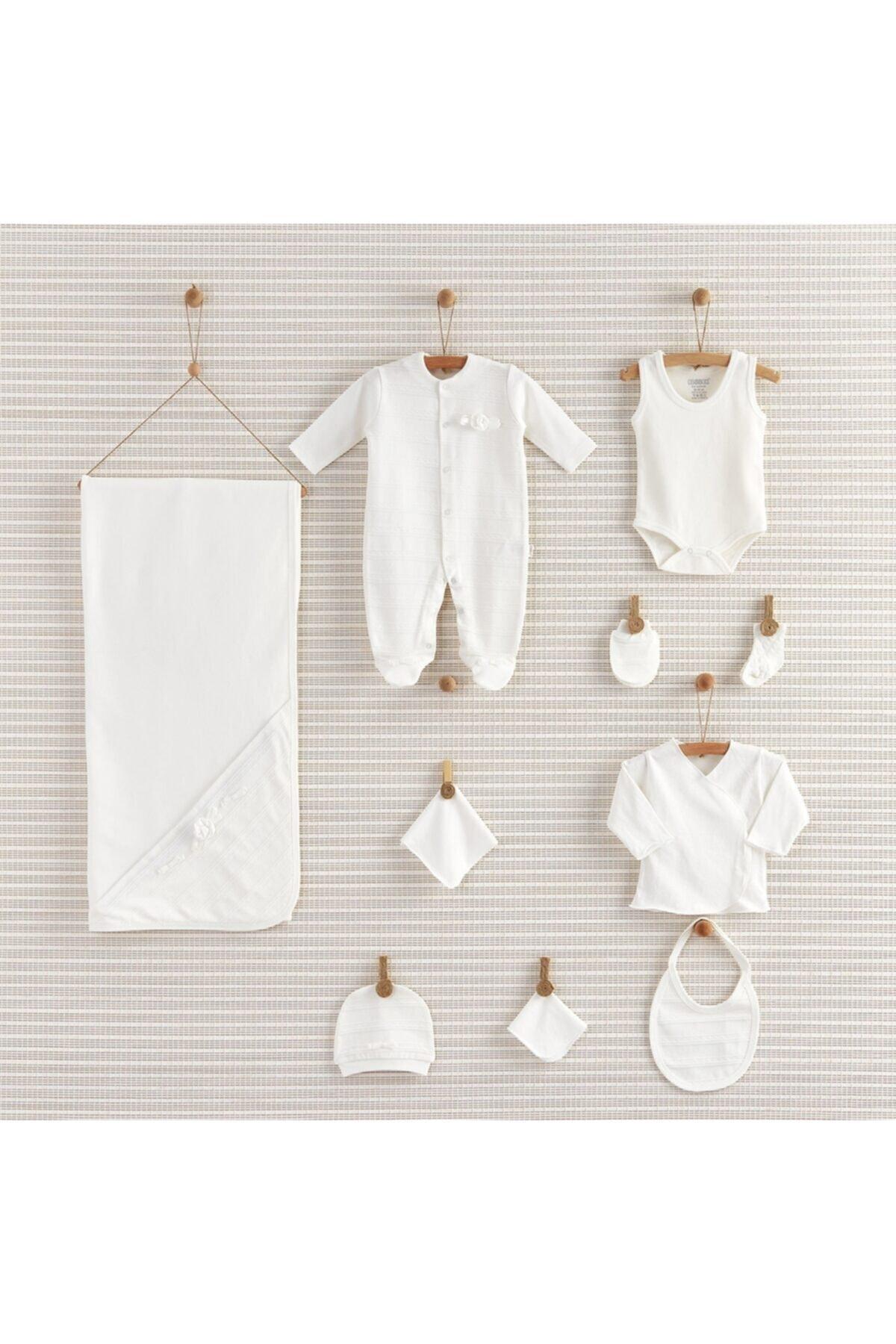 Bebbek 10'lu Hastane Çıkışı - Design Girl Çiçekli Beyaz