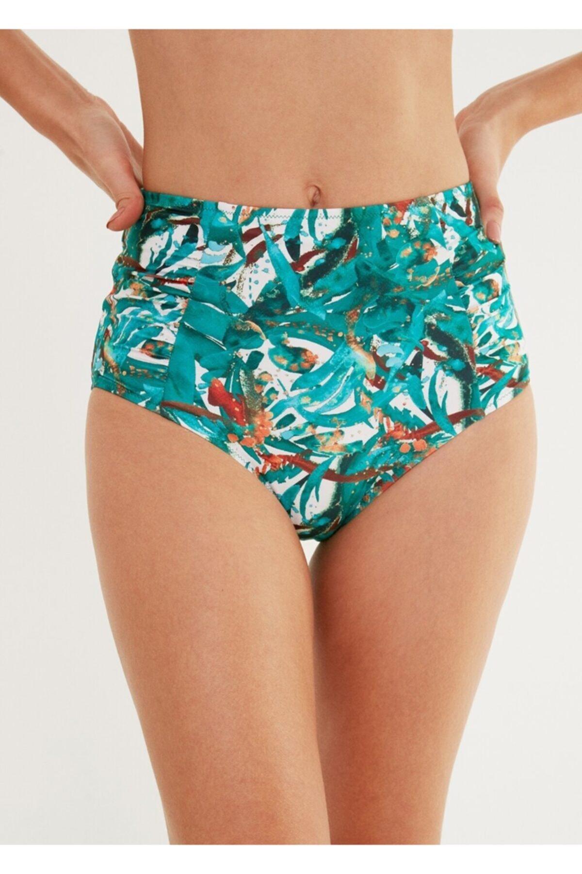 Suwen Yanı Pileli Yüksek Bel Bikini Alt