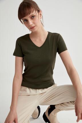 Defacto V Yaka Basic Relax Fit Kısa Kollu Tişört 0