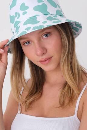 Addax Kadın Mint Beyaz Şapka Şpk1045 - E1 Adx-0000023856 1