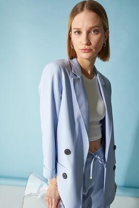 Defacto Kadın Mavi Oversize Fit Blazer Ceket 0