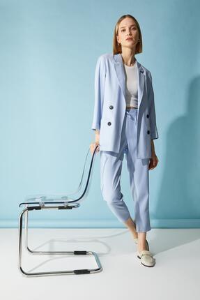 Defacto Kadın Mavi Oversize Fit Blazer Ceket 1