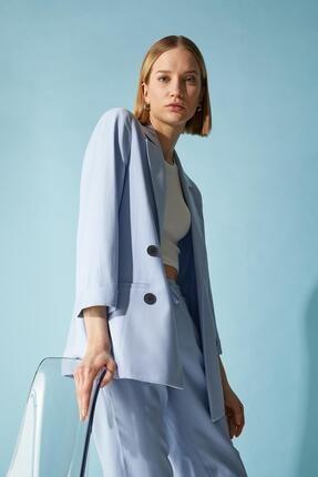 Defacto Kadın Mavi Oversize Fit Blazer Ceket 3