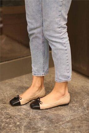 Cömert Ayakkabı Pier Kadın Babet Bej Kapitone 0