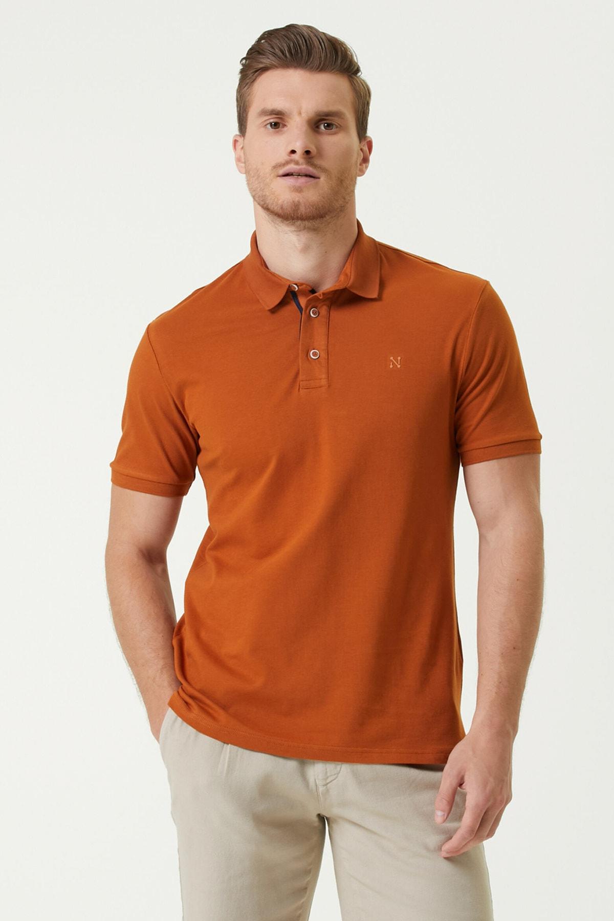 Erkek Slim Fit Kiremit Polo Yaka Logolu T-shirt 1078389