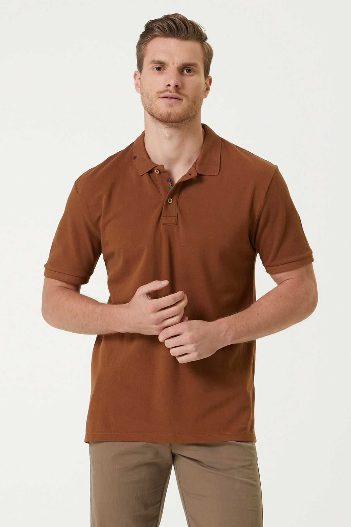 Erkek Slim Fit Tütün Polo Yaka T-shirt 1079747