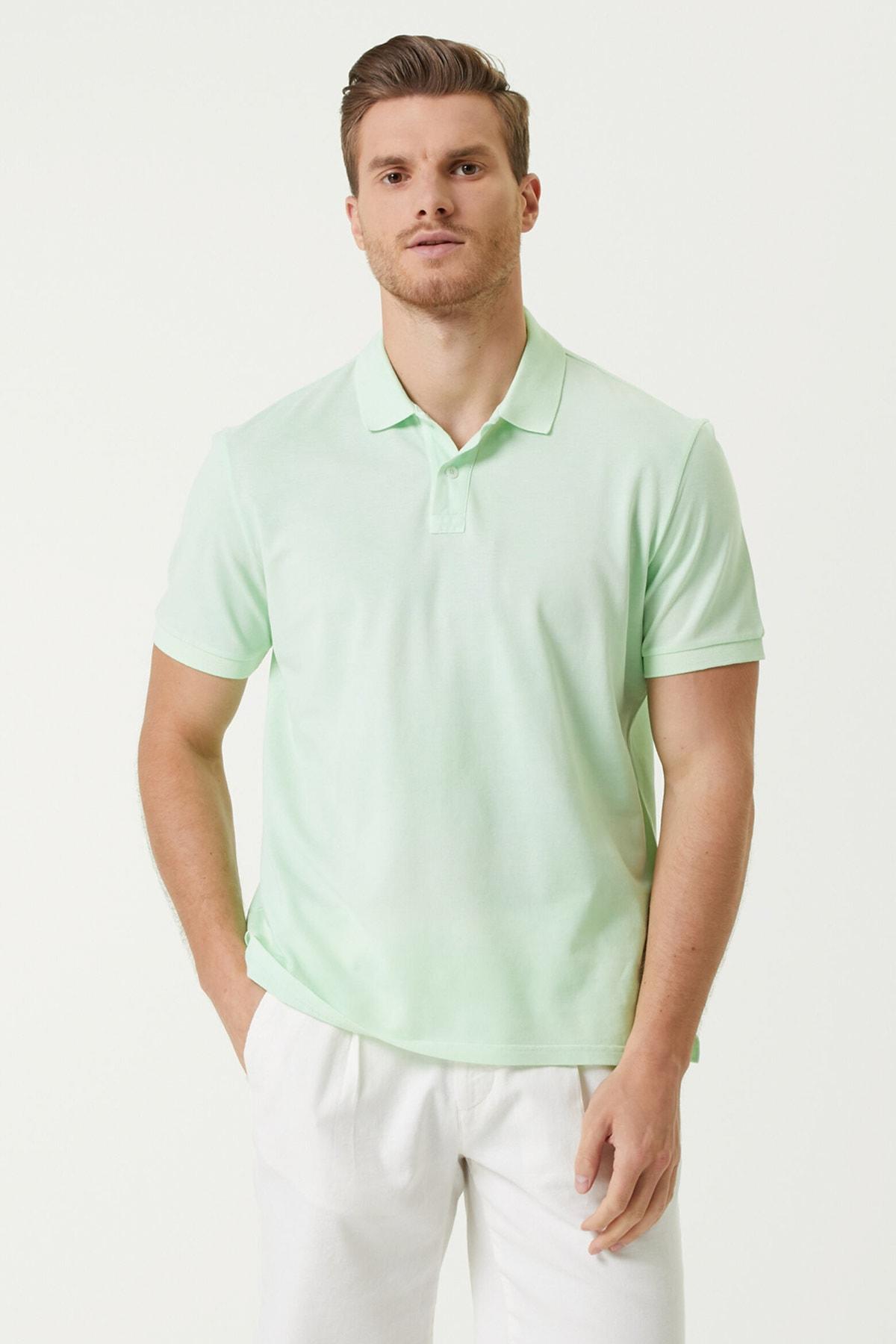 Erkek Comfort Fit Yeşil Polo Yaka Batik Desenli T-shirt 1078289