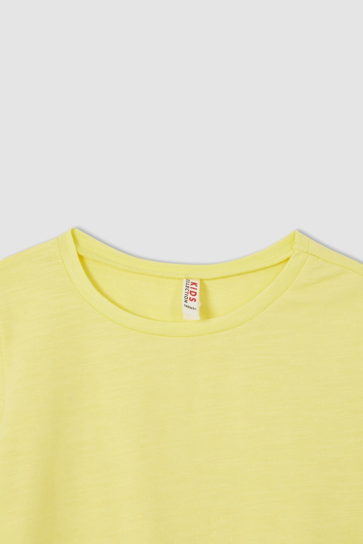 Defacto Kız Çocuk Sarı Bağlama Detaylı Kısa Kol Tişört