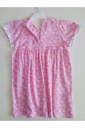 KobalBusiness Kız Çocuk Pembe Çiçek Desenli Fırfırlı  Elbise 1