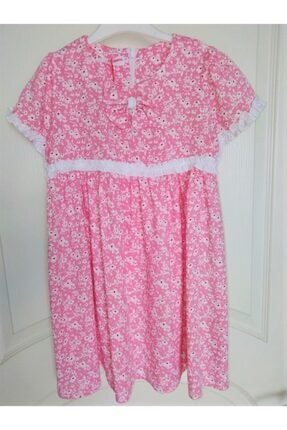 KobalBusiness Kız Çocuk Pembe Çiçek Desenli Fırfırlı  Elbise 2