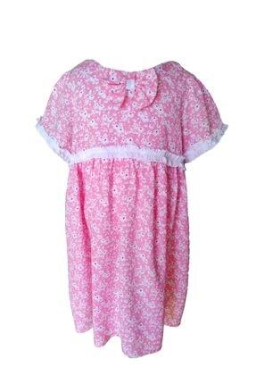 KobalBusiness Kız Çocuk Pembe Çiçek Desenli Fırfırlı  Elbise 3