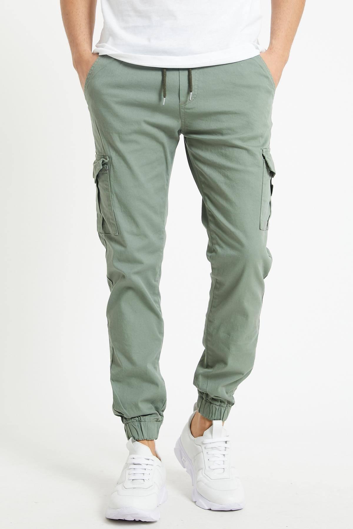 Erkek Açık Haki Slim Fit None Denim Yandan Cepli Bel Bağcıklı, Paçaları Lastikli Kargo Pantolon