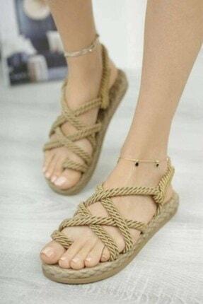 Matilla Kadın Altın Hasır Sandalet 1