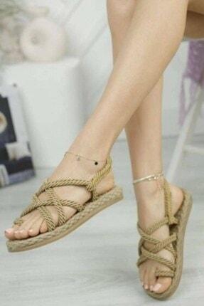 Matilla Kadın Altın Hasır Sandalet 2