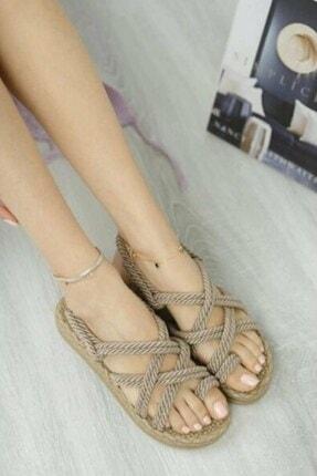 Matilla Kadın Vizon Hasır Sandalet 0