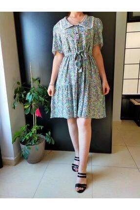Su Yeşili Çiçekli Elbise TYC00188450204