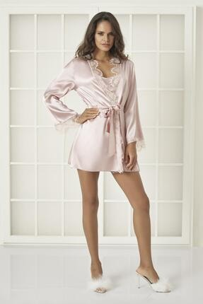 Pierre Cardin Kadın Saten Dantelli 3'lü Pijama Şort  & Sabahlık Takım 2490 Pudra 1
