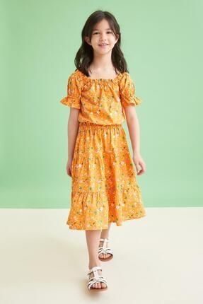 Defacto Kız Çocuk Sarı Desenli Carmen Yaka Bluz ve Etek Takımı 0