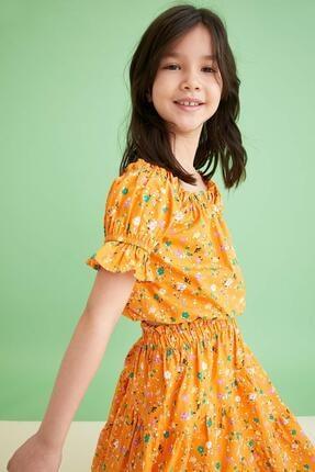 Defacto Kız Çocuk Sarı Desenli Carmen Yaka Bluz ve Etek Takımı 1