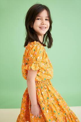 Defacto Kız Çocuk Sarı Desenli Carmen Yaka Bluz ve Etek Takımı 2