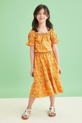 Defacto Kız Çocuk Sarı Desenli Carmen Yaka Bluz ve Etek Takımı 3