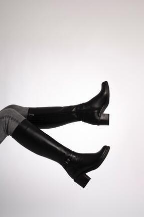 CZ London Hakiki Deri Kadın Tokalı Şeritli Çizme Fermuarlı Kalın Taban 3