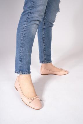 CZ London Hakiki Deri Kadın Metal Aksesuarlı Babet Kurdeleli Ayakkabı 1