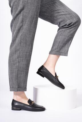CZ London Hakiki Deri Kadın Loafer Zincirli Günlük Klasik Makosen Ayakkabı 2