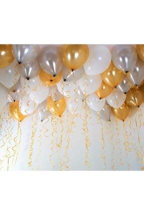 Renkli Parti 30 Adet Metalik Sedefli Gold-gümüş Gri-beyaz Balon, Helyumla Uçan 1