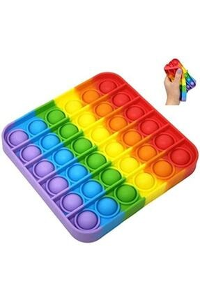 Toys Pop It Push Bubble Fidget Popit Gökkuşağı Renkli Duyusal Stres Oyuncağı Kare 0