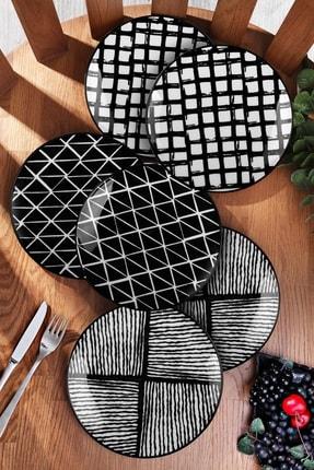Kitchen Life 6'lı Özel Tasarım Handmade 21cm Pasta Tabak Seti - Black 0