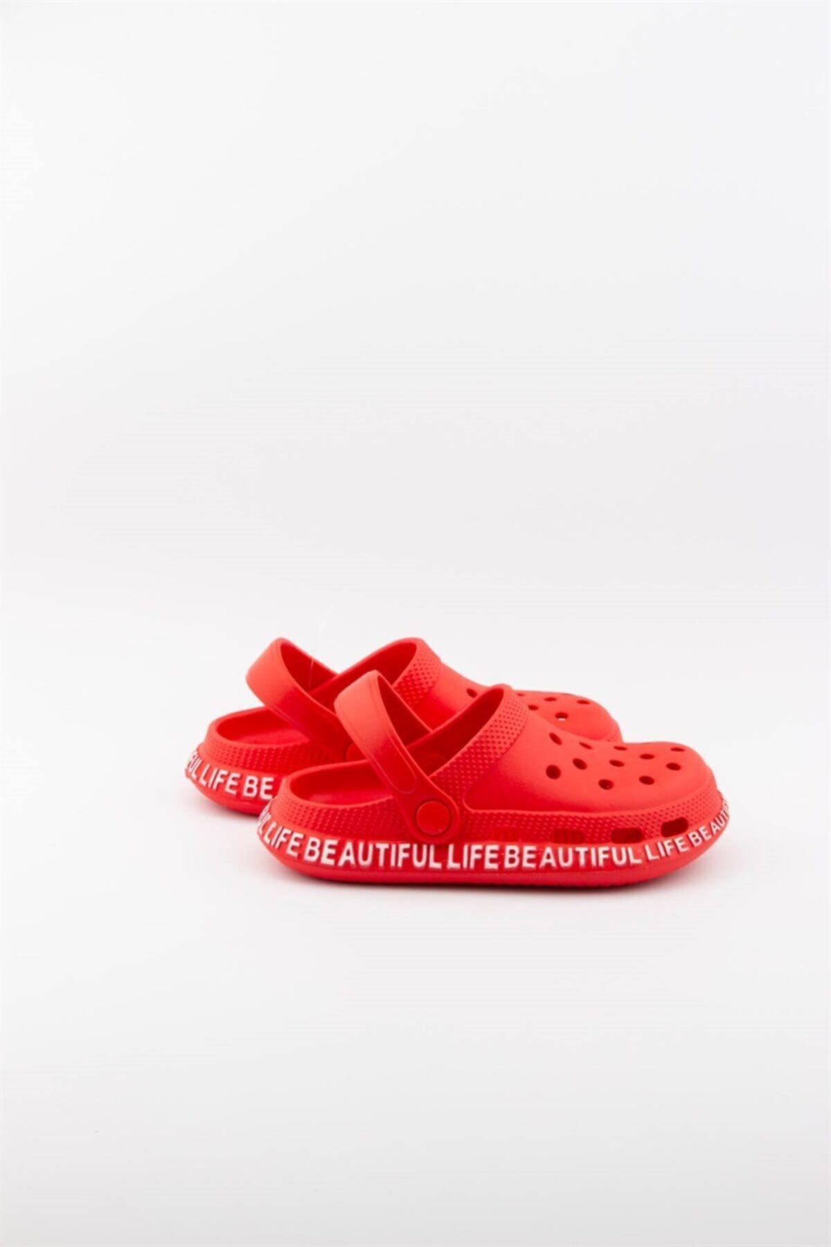 Çocuk Yazlık Kırmızı Renk Yazılı Sandalet Terlik