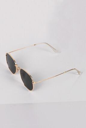 Curly Accessories Unisex Gold Beşgen Altın Vintage Güneş Gözlüğü 1