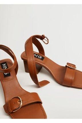 Mango Topuklu Deri Sandalet 0